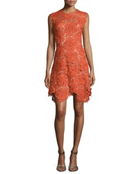 Catherine Deane Cap Sleeve Lace Fit And Flare Dress Sunset Red