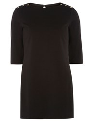 Dorothy Perkins Long Sleeve Tunic With Button Detail Black