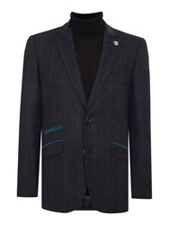 Simon Carter Window Pane Check Jacket Navy
