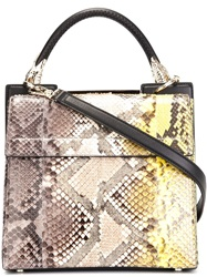 Roberto Cavalli Degrade Python Skin Tote Nude And Neutrals