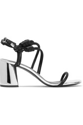 3.1 Phillip Lim Drum Knotted Patent Leather And Satin Sandals Black