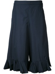 Muveil Cropped Frill Trim Trousers Blue