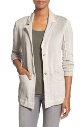 Women's Eileen Fisher Organic Cotton Metallic Knit Notch Collar Jacket
