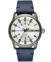 Diesel Armbar Blue Leather Strap Watch 44Mm No Color