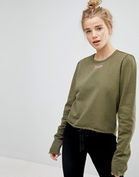 Juicy Couture By Gothic Logo Print Sweatshirt With Puff Sleeve Green