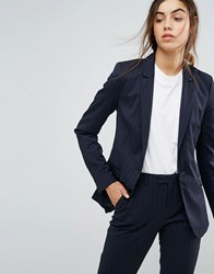 Selected Foxy Lux Pinstripe Wool Blend Long Blazer Dark Navy