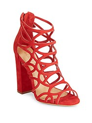 Schutz Open Toe Leather Sandals Red