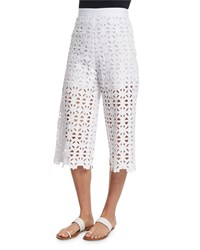Miguelina Dana Crocheted Lace Cropped Pants Size L Pure White