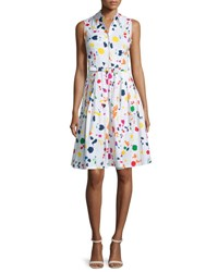 Samantha Sung Claire Splatter Print Sleeveless Shirtdress White