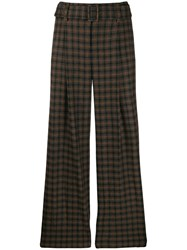 Vince Flared Check Print Trousers Brown