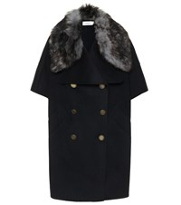 Coach Shearling Trimmed Wool Cape Black