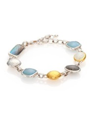 Gurhan Lentil Semi Precious Multi Stone 24K Yellow Gold And Sterling Silver Storm Bracelet Gold Silver