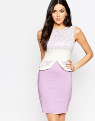 Vesper Ronnie Pencil Dress With Lace Top Detail Lilac Purple