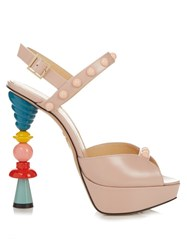 Charlotte Olympia High Voltage Leather Platform Sandals Pink Multi