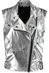 Rebecca Minkoff Metallic Coated Cotton Biker Vest