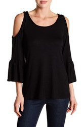 Cable And Gauge Braided Cold Shoulder Blouse Black