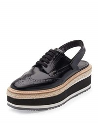 Prada Patent Brogue Slingback Oxford Black