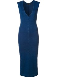 Ag Jeans Fitted Jersey Dress Blue