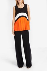 Victoria Beckham Women S Graphic Pleated Silk Top Boutique1 Blk Wht Or