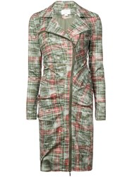 Nicole Miller Zipped Checked Dress Green