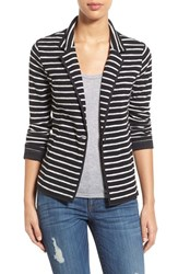 Women's Caslon One Button Knit Blazer Black Ivory Stripe