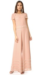 Red Valentino Wide Leg Embroidered Jumpsuit Powder