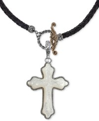American West Mother Of Pearl Cross Black Leather 20 Pendant Necklace In Sterling Silver