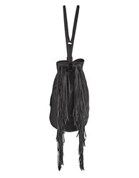 Kenneth Cole Fringed Leather Shoulder Bag Black
