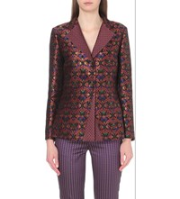 Etro Slim Fit Brocade Jacquard Blazer Black