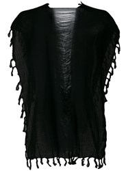 Caravana Convertible Fringed And Distressed Top Cotton Black