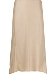 Theory A Line Midi Skirt Neutrals