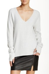 Pam And Gela V Neck Long Sleeve Sweater Gray