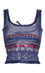 Etro Navy Crochet Knit Tank