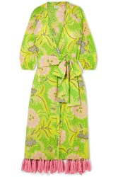 Rhode Resort Lena Tasseled Printed Cotton Voile Wrap Maxi Dress Green