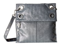Hammitt Montana Rev Lake Chevron Juniper Buffed Brushed Silver Cross Body Handbags Gray