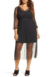 Elvi Plus Size Women's Beaded Mesh Midi Dress Black