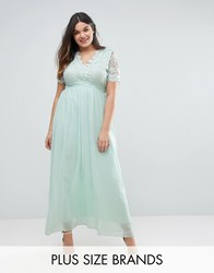Club L Plus Maxi With Scallop Lace Top Mint Blue