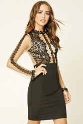 Forever 21 Floral Lace Bodycon Dress Black Nude
