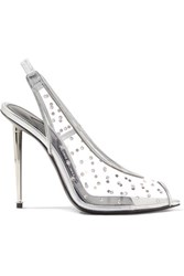 Tom Ford Embellished Metallic Leather And Pvc Slingback Pumps Silver