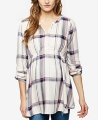 A Pea In The Pod Maternity Plaid Blouse Pink Plaid