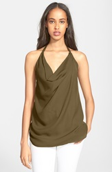 Haute Hippie Cowl Neck Silk Tank Military