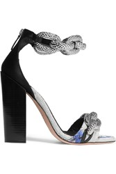 Giambattista Valli Chain Embellished Jacquard And Satin Sandals Metallic