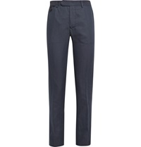 Berluti Cotton Linen And Silk Blend Trousers Blue