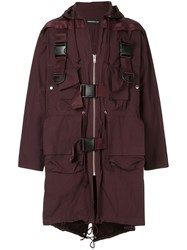 Undercover Long Military Constructed Coat Purple