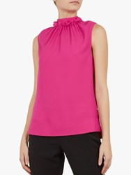 Ted Baker Audrye Ruffle Neck Sleeveless Top Pink Mid