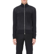 Tom Ford Zip Up Wool And Suede Jacket Navy
