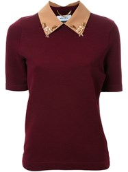 Muveil Embellished Collar Knit Top Red