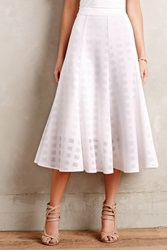 Anthropologie Windowpane Midi Skirt White