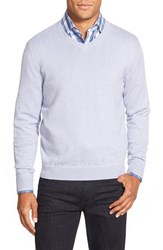 Men's Big And Tall Nordstrom Cotton And Cashmere V Neck Sweater Purple Beam Heather