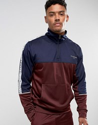 Illusive London Overhead Track Jacket In Burgundy With Taping Burgundy Red